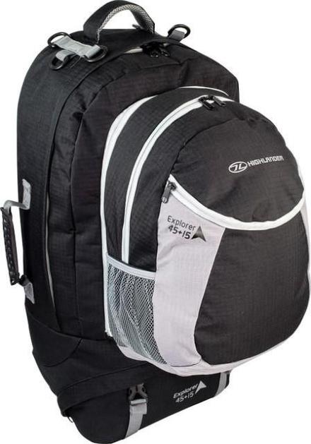 Highlander Explorer travelbag 45+15l zwart