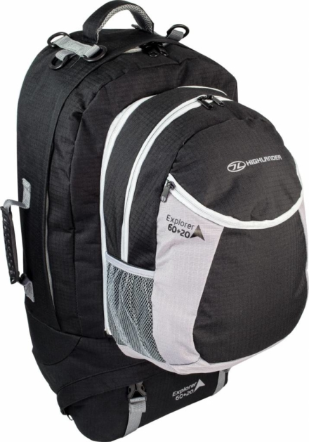Highlander Explorer travelbag 60 + 20l zwart