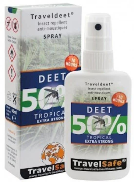 Travelsafe TravelDEET 50% deet Spray 60ml exta strong tropical
