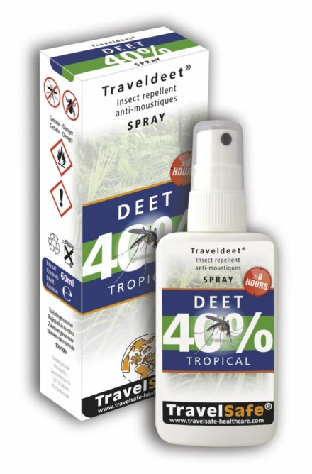 Travelsafe TravelDEET 40% Spray 60ml tropical muggenspray