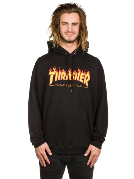 Thrasher Flame Hoodie zwart