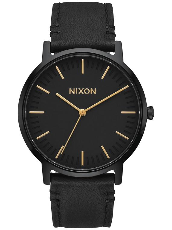 Nixon The Porter lederen zwart