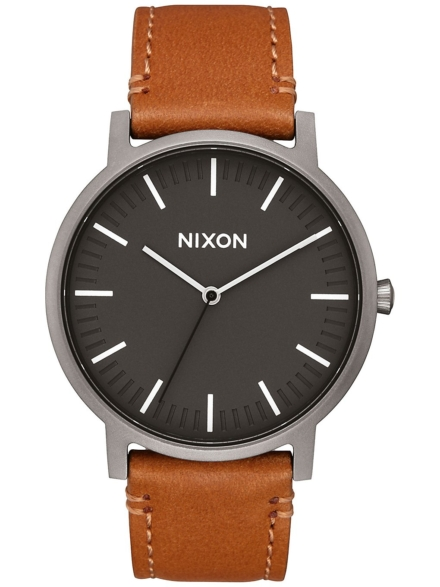 Nixon The Porter lederen grijs