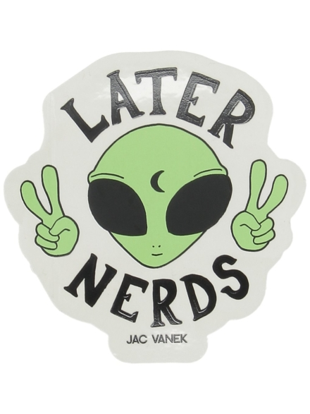 Jac Vanek Later Nerds Sticker wit