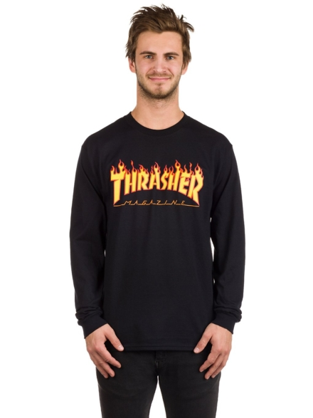 Thrasher Flame Long Sleeve T-Shirt zwart