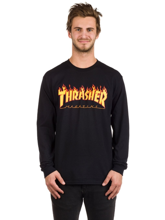Thrasher Flame Long Sleeve T-Shirt zwart