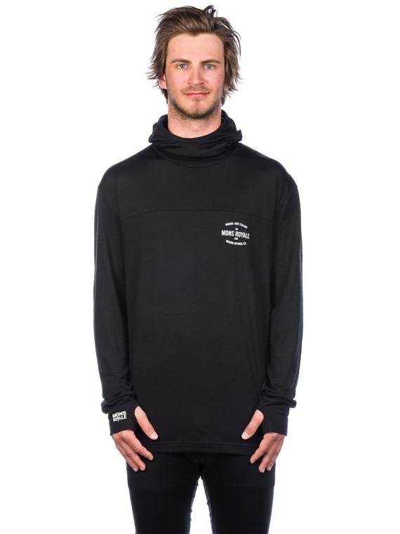 Mons Royale Merino Yotei Powder Hood Tech t-shirt met lange mouwen zwart