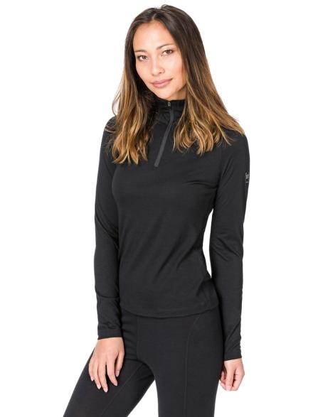 super.natural Base 1/4 Zip 175 Tech t-shirt met lange mouwen zwart