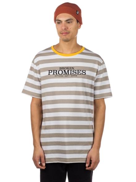 Broken Promises Actions not Words Stripe T-Shirt grijs