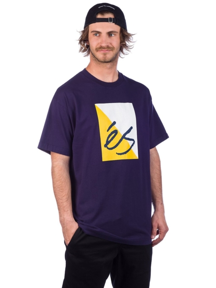 Es Split Block T-Shirt blauw