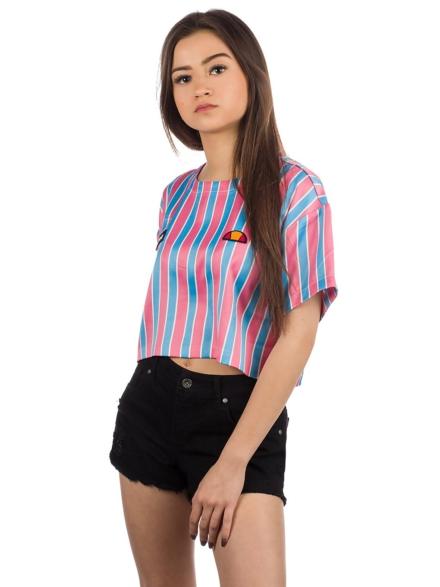 Ellesse Naga Stripe Crop T-Shirt roze