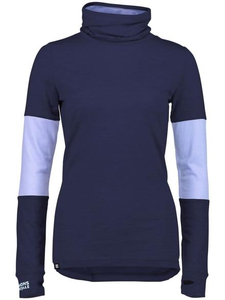 Mons Royale Merino Cornice Rollover Tech t-shirt met lange mouwen blauw