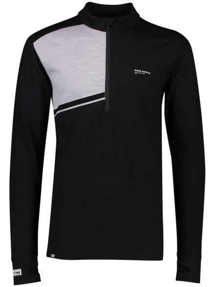 Mons Royale Merino Alta Half Zip Tech t-shirt met lange mouwen zwart