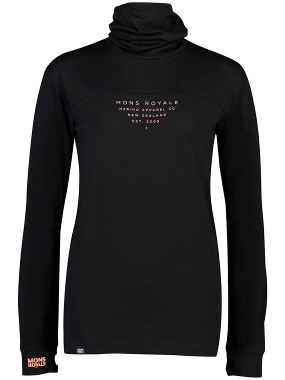 Mons Royale Merino Yotei Bf High Neck Tech t-shirt met lange mouwen zwart