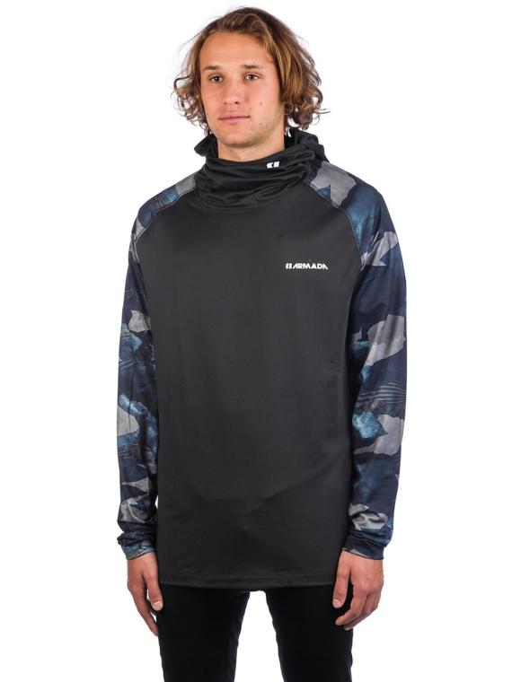 Armada Rotor LT Hooded Tech t-shirt met lange mouwen blauw