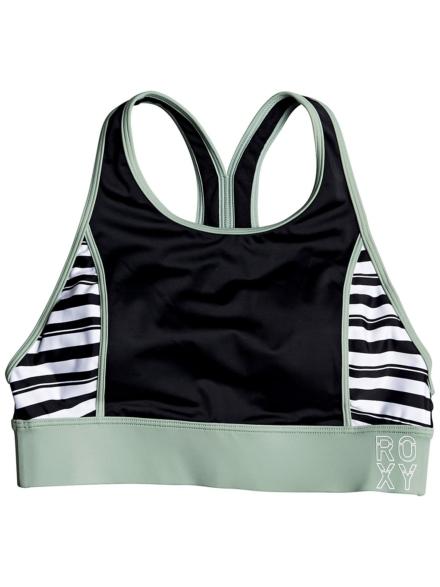 Roxy Fitness Crop Top Bikini Top zwart