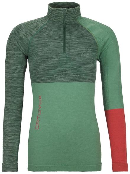 Ortovox Merino Comp Zip Neck Tech t-shirt met lange mouwen groen