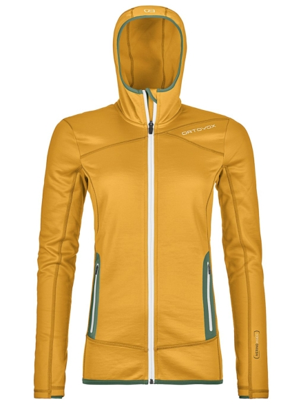 Ortovox Hooded Fleece Ski jas geel