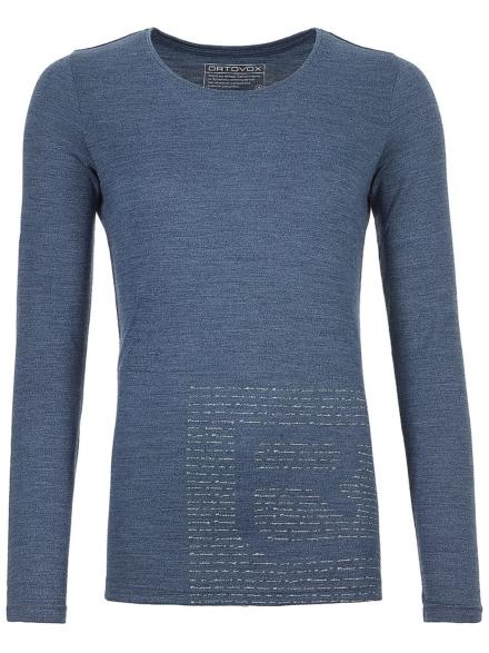 Ortovox 185 Merino Logo Tech t-shirt met lange mouwen blauw