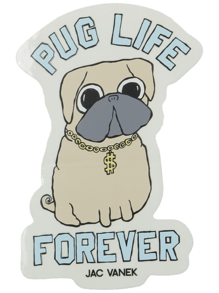 Jac Vanek Pug Life Sticker patroon