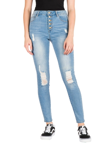 Empyre Drea W/Button Fly Jeans blauw