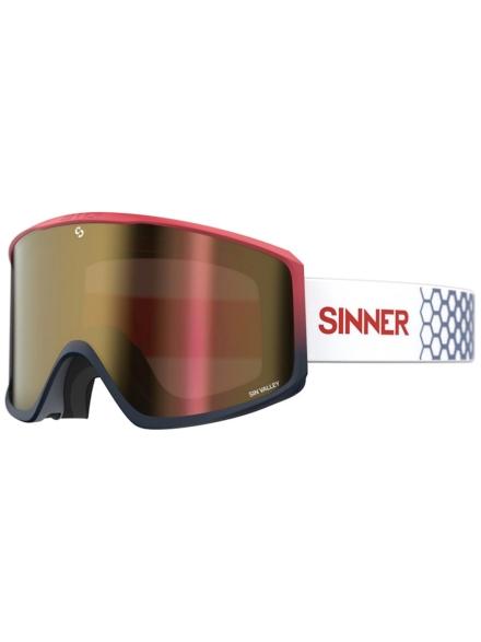 Sinner Sin Valley Matt Red/Dk Blu (+Bonus Lens) zwart