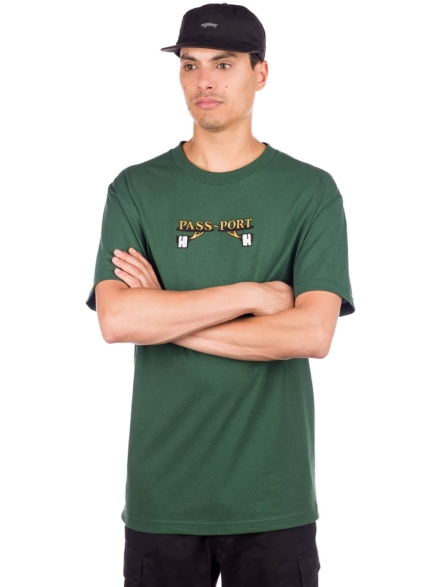 Pass Port Waiter Embroidery T-Shirt groen