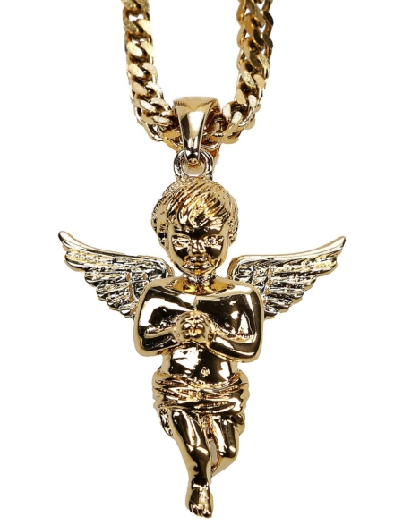 The Gold Gods Franco Wheat Chain Micro Angel Necklace geel