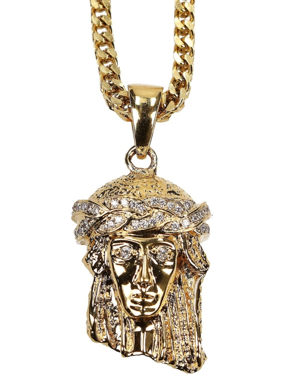 The Gold Gods Franco Chain Micro Jesus Necklace geel
