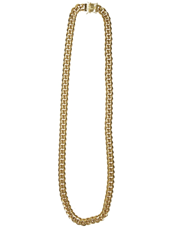 The Gold Gods Cuban 12mm 30″ Curved Link Chain geel