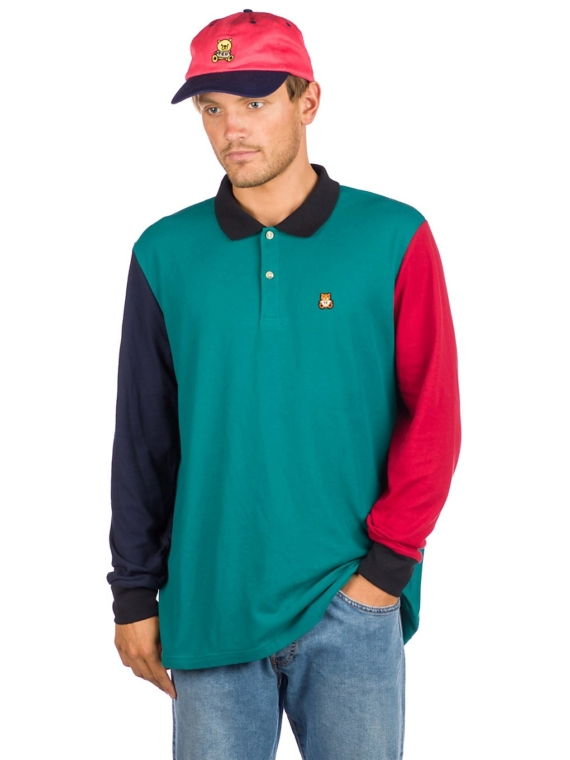 Teddy Fresh Colorblock Long Sleeve Polo groen