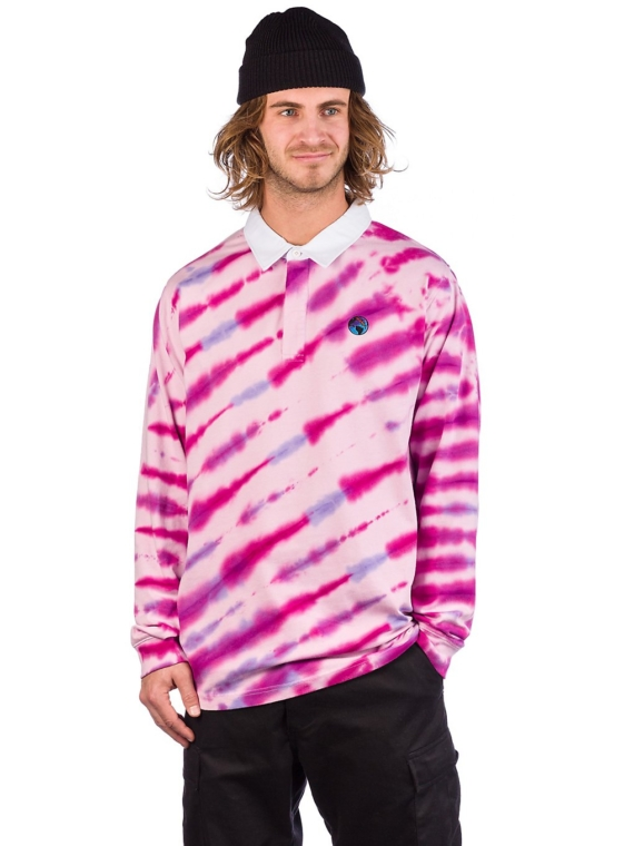 t-shirtnage Tie Dye Rugby w/ Embroidery Long Sleeve T-Shirt roze