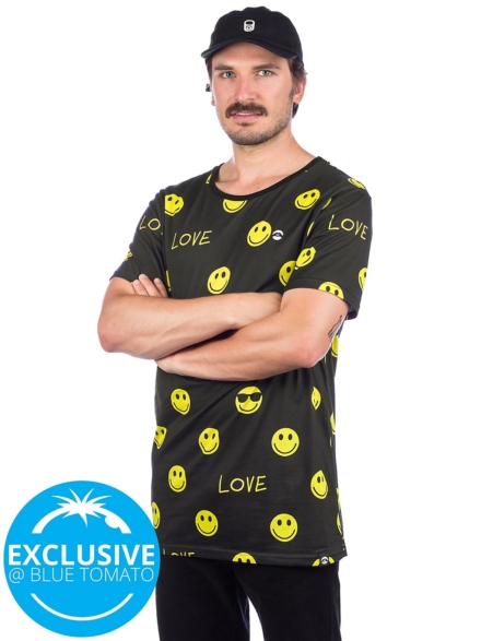 Love Dont worry Be Happy T-Shirt zwart