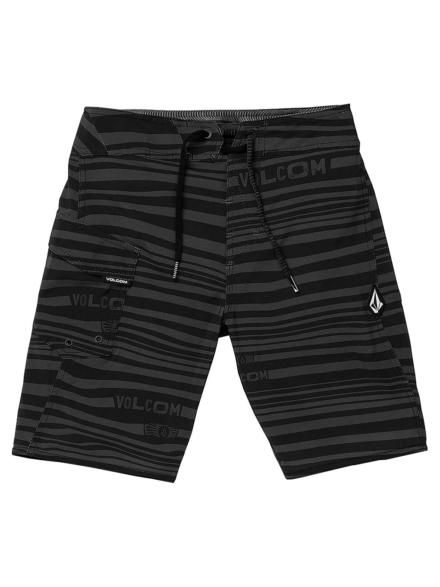 Volcom Logo Stripe Mod Boardshorts zwart