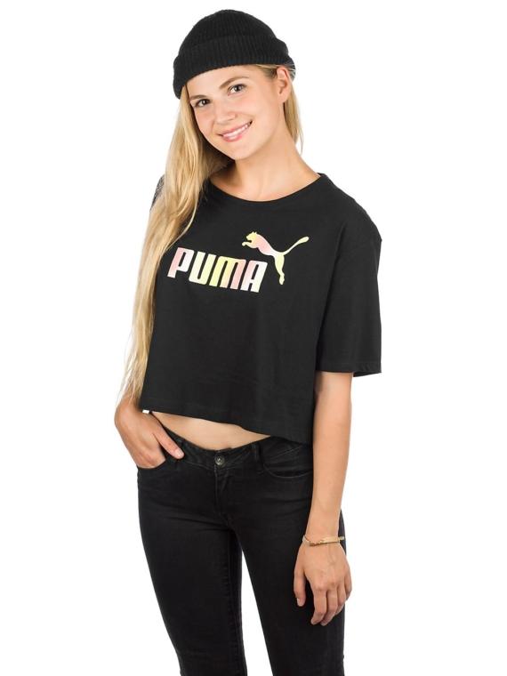 Puma ESS+ Cropped Logo T-Shirt zwart