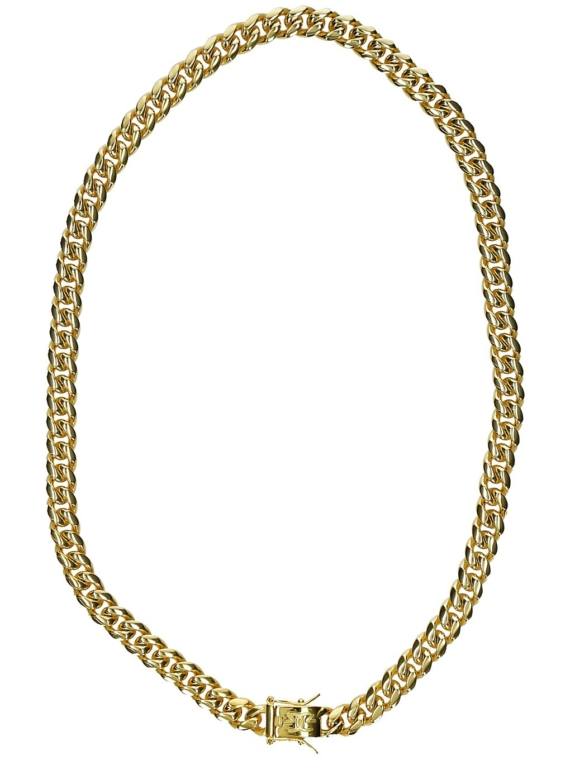 The Gold Gods 10mm 22″ Miami Cuban Link Chain geel