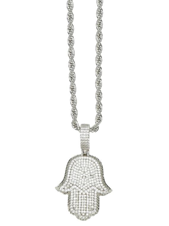 The Gold Gods Micro Diamond Hamsa Hand Rope Chain geel