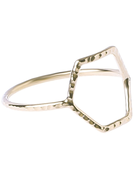 Epic Facetted Hexa Ring geel