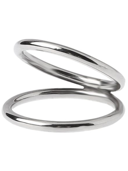 Epic Silver Stripe Double Ring M grijs