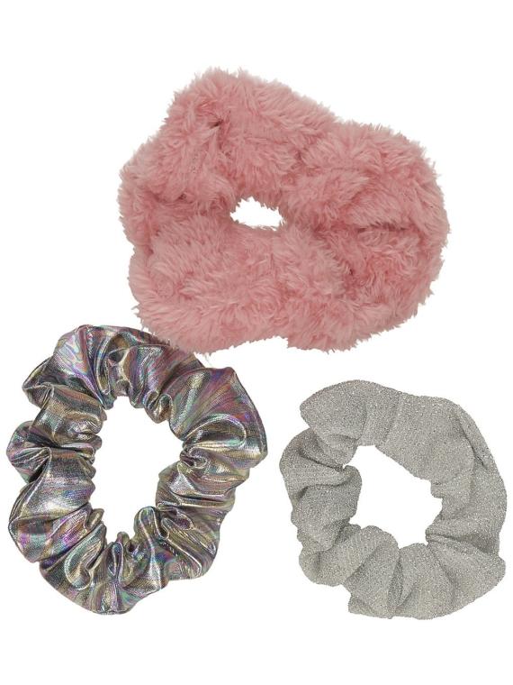 Stone and Locket Pink Bunny Scrunchie 3pk roze