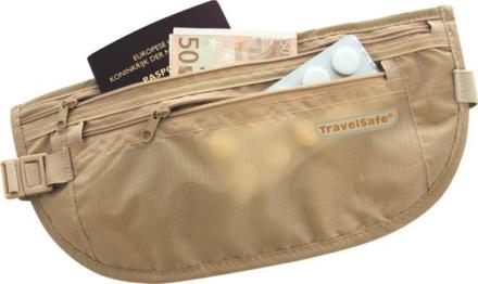 Travelsafe moneybelt lightweight reisportemonnee beige- twee ritsen