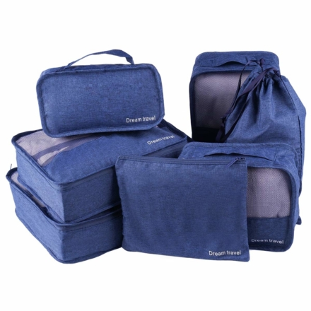 DreamTravel Packing cubes organiser set van 7 blauw