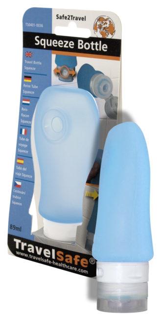 Travelsafe Squeeze Bottle 89 ml siliconen reisflesje blauw