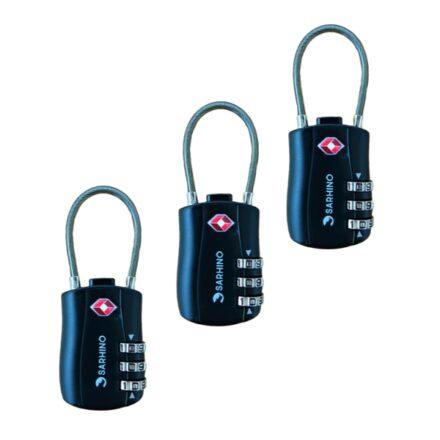 Sarhino Voordeelpak 3 x Protect Zipper TSA cijferslot 3 cijfers zwart