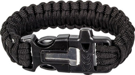 Highlander Paracord armband met fire starter Zwart