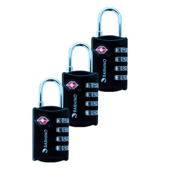 Sarhino Voordeelpak 3 x Protect One TSA cijfersloten 4 cijfers zwart