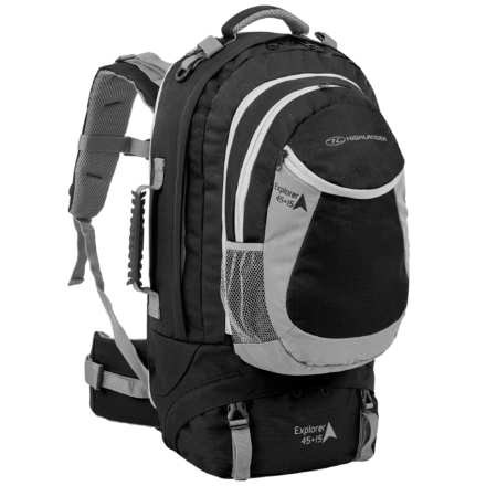 Highlander Explorer 45+15l travelpack zwart