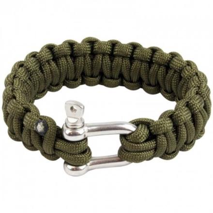 Highlander Paracord armband met D-ring Olive