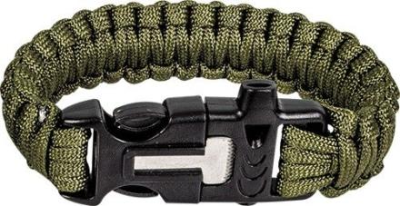 Highlander Paracord armband met fire starter Olive