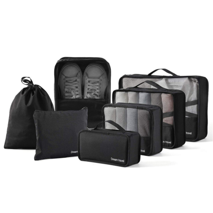 DreamTravel Packing cubes organiser set van 7 zwart